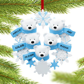 Personalized Snowflake Polar Bears 5 Christmas Ornament