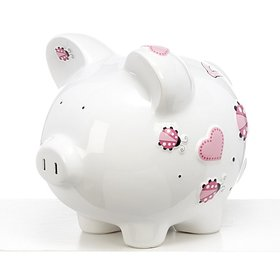 Personalized Large Pink Lady Bug Piggy Bank Christmas Ornament