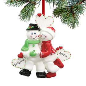Personalized Snowman Sweethearts Christmas Ornament