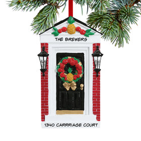 Personalized Colonial Door with Friendship Pineapple Christmas Ornament