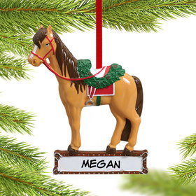 Personalized Saddled Horse Christmas Ornament