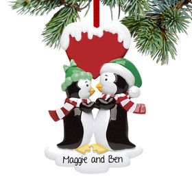 Personalized Penguin Kisses Christmas Ornament