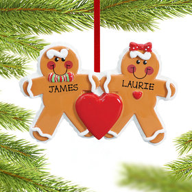 Personalized Gingerbread Family 2 Christmas Ornament