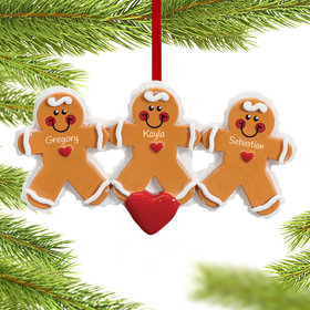 Personalized Gingerbread Family 3 Christmas Ornament