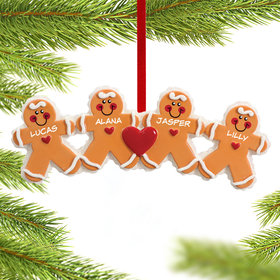 Personalized Gingerbread Family 4 Christmas Ornament
