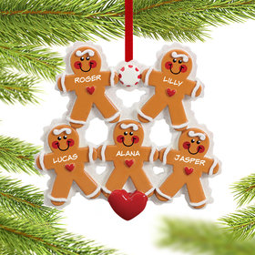Personalized Gingerbread Family 5 Christmas Ornament