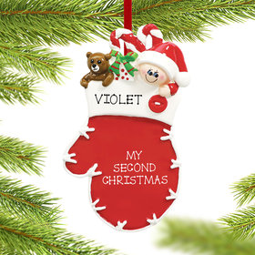 Personalized Mitten Child Christmas Ornament