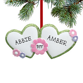 Personalized BFF Hearts Christmas Ornament