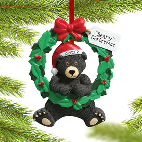 Personalized Wreath Bear Christmas Ornament