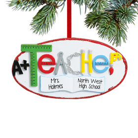 Personalized Teacher Oval with Book, Compass and Pencils Christmas Ornament