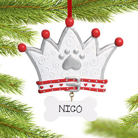 Personalized Dog Crown Christmas Ornament