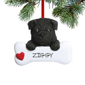 Personalized Black Pug Dog Bone Christmas Ornament