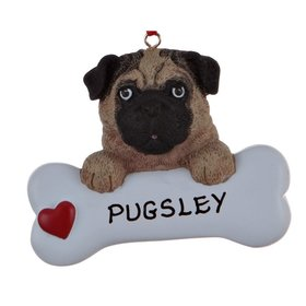 Personalized Black or Tan Pug Dog Bone Christmas Ornament