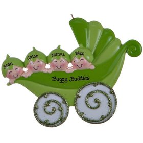 Personalized Peapod Carriage Family of 4 Christmas Ornament