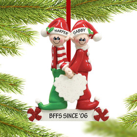 Personalized Close Brother and Sister or Friends Christmas Ornament