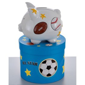 Personalized Mini Sports Piggy Bank Christmas Ornament