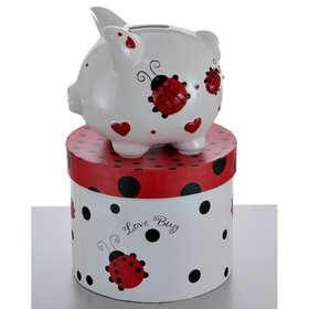 Personalized Mini Ladybug Piggy Bank Christmas Ornament