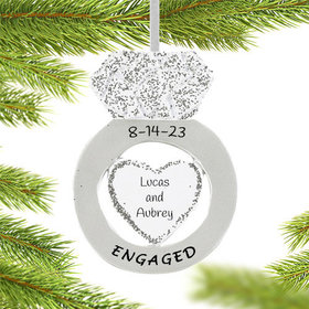 Personalized Diamond Engagement Ring Christmas Ornament