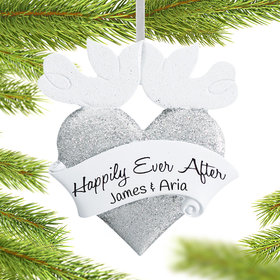 Personalized Happily Ever After Wedding Heart Christmas Ornament