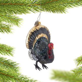 Thanksgiving Turkey with Feathers Christmas Ornament
