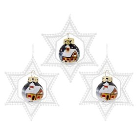 Personalized Lace Star with Mini Glass Ball (Set of 3) Christmas Ornament