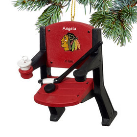 Personalized Chicago Blackhawks Stadium Seat Christmas Ornament