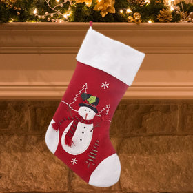 Red and White Christmas Stocking (Snowman)
