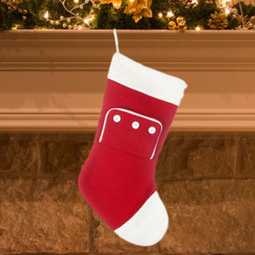 Red Knit with Button Pocket Christmas Stocking