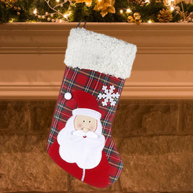 Plaid Santa Christmas Stocking