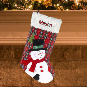 Personalized Plaid Snowman Personalized Christmas Stocking