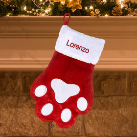Personalized Paw Print Personalized Christmas Stocking
