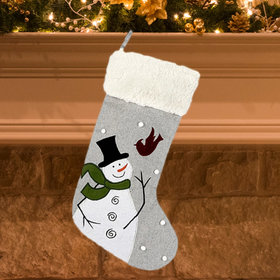Snowman with Cardinal Flying Christmas Stocking