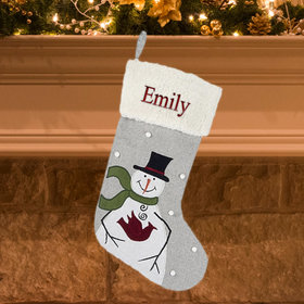 Personalized Snowman Holding Cardinal Personalized Christmas Stocking