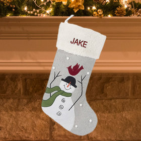 Personalized Snowman with Cardinal on Head Personalized Christmas Stocking