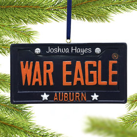 Personalized Auburn Tigers License Plate Christmas Ornament