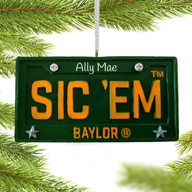Personalized Baylor License Plate Christmas Ornament