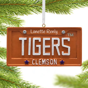 Personalized Clemson Tigers License Plate Christmas Ornament