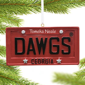 Personalized Georgia Bulldogs License Plate Christmas Ornament