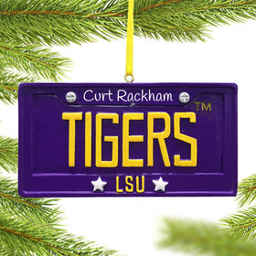 Personalized LSU License Plate Christmas Ornament
