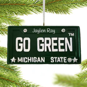 Personalized Michigan State License Plate Christmas Ornament
