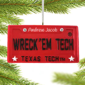 Personalized Texas Tech License Plate Christmas Ornament