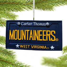 Personalized West Virginia Mountaineers License Plate Christmas Ornament