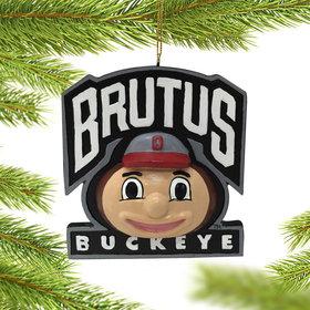 Personalized Ohio State Mascot Head Christmas Ornament