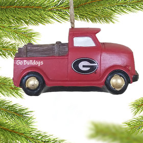 Personalized Georgia Bulldogs Truck Christmas Ornament
