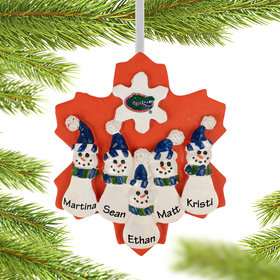 Personalized University of Florida Snowman Family of 5 Christmas Ornament