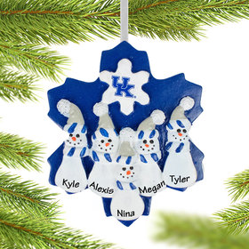 Personalized Kentucky Snowman Family of 5 Christmas Ornament