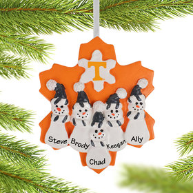 Personalized University of Tennesse Snowman Family of 5 Christmas Ornament