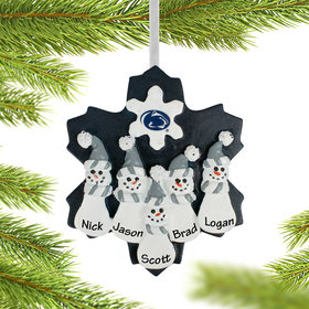 Personalized Penn State Snowman Family of 5 Christmas Ornament