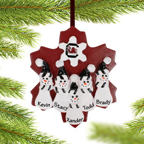 Personalized University of South Carolina Snowman Family of 5 Christmas Ornament