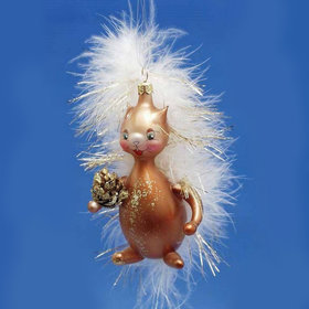 Squirrel With Feathers & Tail Christmas Ornament